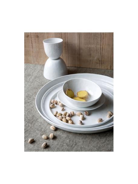 Ontbijtborden Porcelino, 4 stuks, Porselein in obewust ongelijkmatige vorm, Wit, Ø 22 cm