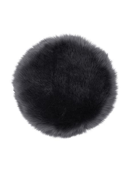 Cuscino sedia rotondo in eco pelliccia lisica Mathilde, Retro: 100% poliestere, Grigio scuro, Ø 37 cm