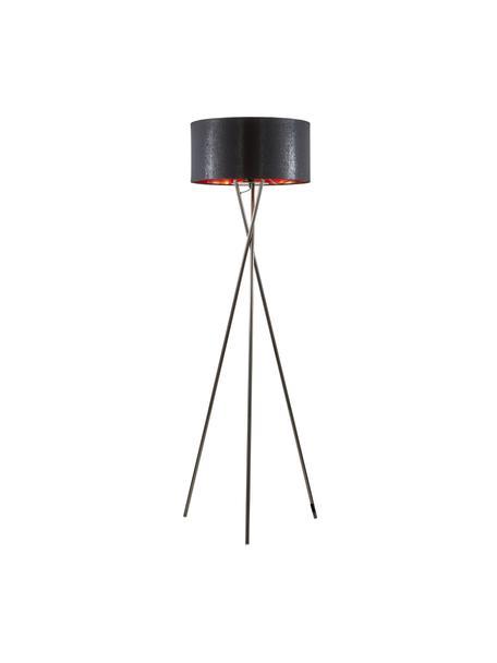 Tripod Stehlampe Giovanna mit Kupfer-Dekor, Schwarz, Kupfer, Ø 45 x H 154 cm