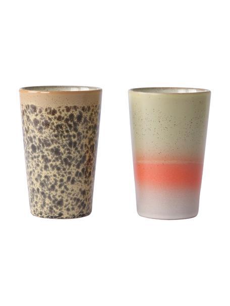 Set 2 tazze senza manico fatte a mano 70's, Ceramica, Multicolore, Ø 9 x Alt. 14 cm