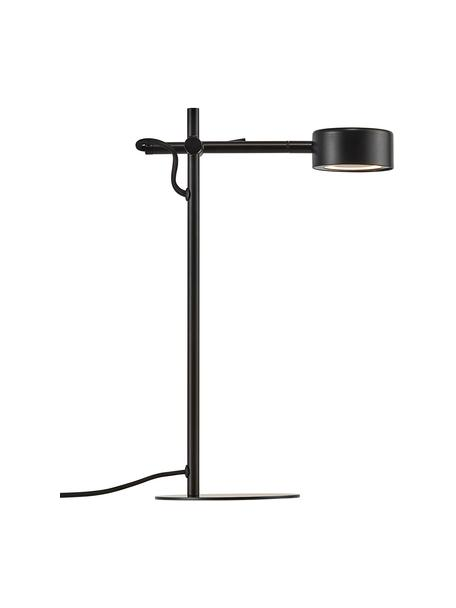 Dimbare LED bureaulamp Clyde, Lampenkap: gecoat metaal, Lampvoet: gecoat metaal, Diffuser: kunststof, Zwart, 15 x 41 cm