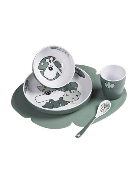 Geschirr-Set Tiny Tropics, 5-tlg., Grün, Set mit verschiedenen Größen