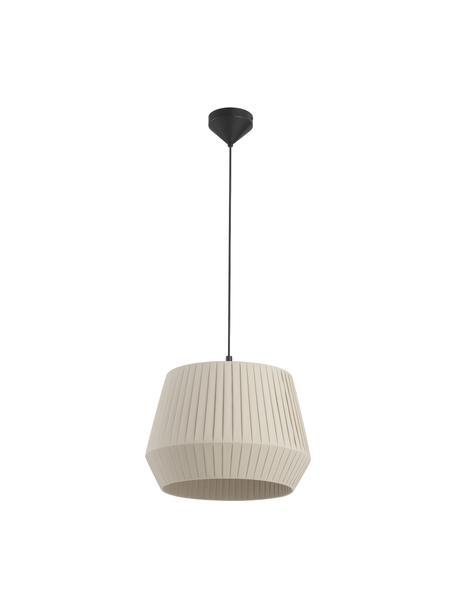 Lampa wisząca z plisowanej tkaniny Dicte, Beżowy, czarny, Ø 40 x W 34 cm