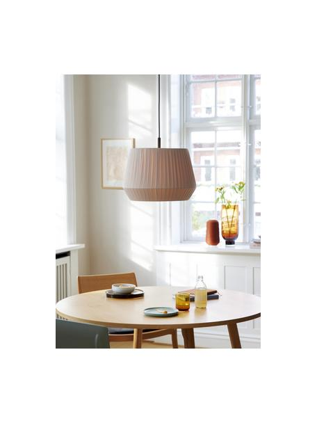 Klassische Pendelleuchte Dicte aus Faltenstoff, Lampenschirm: Stoff, Baldachin: Metall, beschichtet, Beige, Schwarz, Ø 40 x H 34 cm
