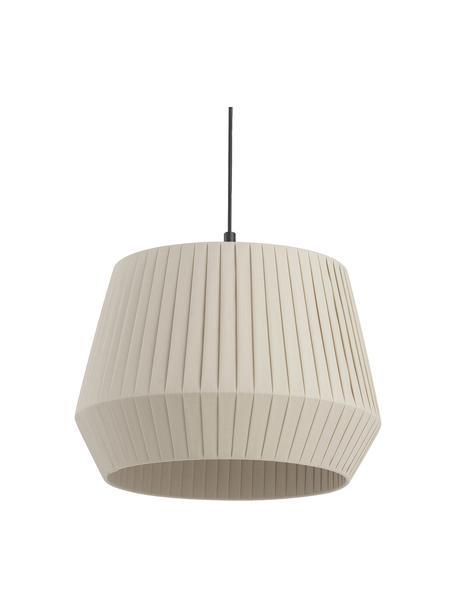 Klassieke hanglamp Dicte van geplooide stof, Lampenkap: stof, Baldakijn: gecoat metaal, Beige, zwart, Ø 40 x H 34 cm