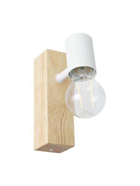 Wandlamp Townshend van hout, Fitting: gecoat metaal, Wit, houtkleurig, 5 x 17 cm
