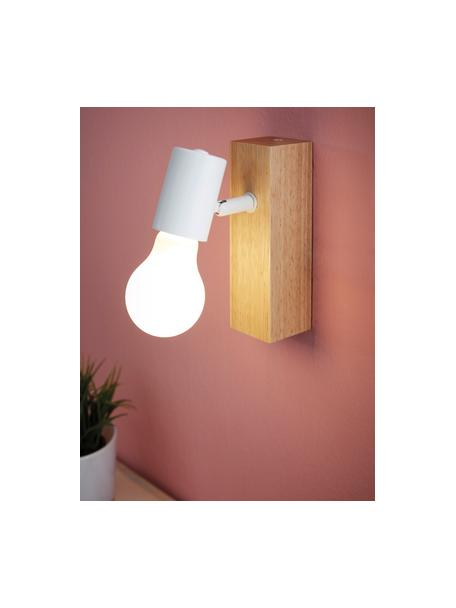 Wandlamp Townshend, Fitting: gecoat metaal, Wit, houtkleurig, 5 x 17 cm