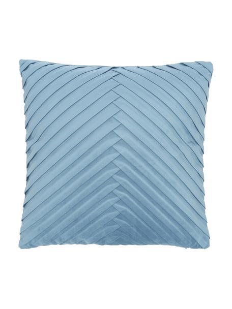 Fluwelen kussenhoes Lucie in lichtblauw met structuur-oppervlak, 100% fluweel (polyester), Blauw, 45 x 45 cm