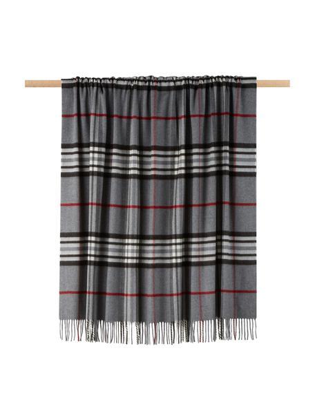 Plaid scozzese Classy Side, 100% poliacrilico, Grigio, grigio chiaro, rosso, nero, bianco, Larg. 130 x Lung. 170 cm