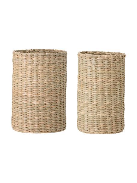 Flessenhouder Basket van zeegras, 2-delig, Zeegraskleurig, Beige, Set met verschillende formaten