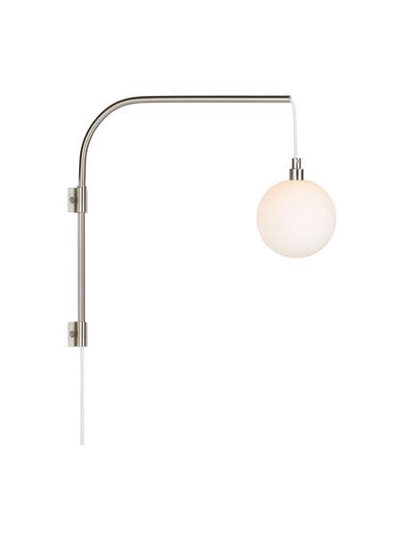Wandleuchte Bea mit Stecker, Lampenschirm: Opalglas, Gestell: Metall, Opalweiß, Silberfarben, 12 x 40 cm