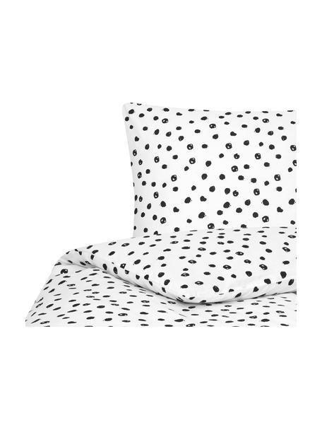 Gepunktete Baumwoll-Bettwäsche Jana, Webart: Renforcé Fadendichte 144 , Weiß, Schwarz, 135 x 200 cm + 1 Kissen 80 x 80 cm