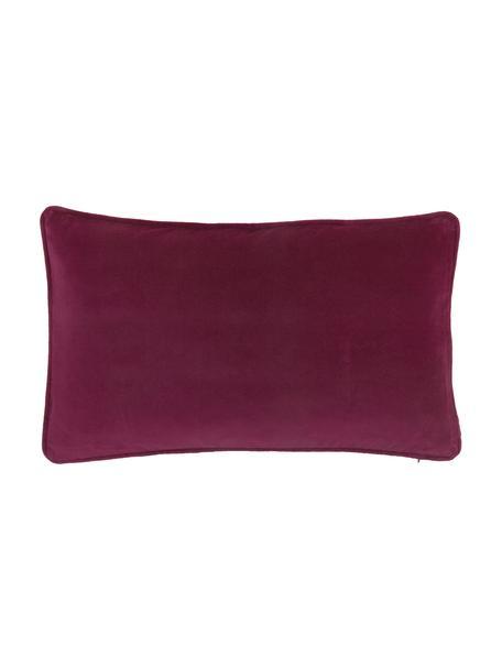 Poszewka na poduszkę z aksamitu Dana, 100% aksamit bawełniany, Wiśniowy, S 30 x D 50 cm