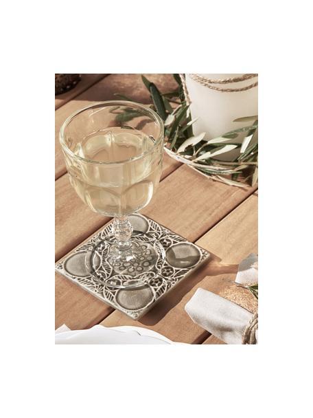 Weingläser Lousanne mit Relief im Landhausstil, 6 Stück, Glas, Transparent, Ø 9 x H 17 cm