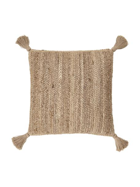 Funda de cojín de yute Jerome, Parte trasera: 100%algodón, Beige, blanco, An 40 x L 40 cm