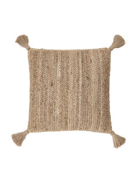 Jute-Kissenhülle Jerome, Rückseite: 100% Baumwolle, Beige,Weiß, 40 x 40 cm