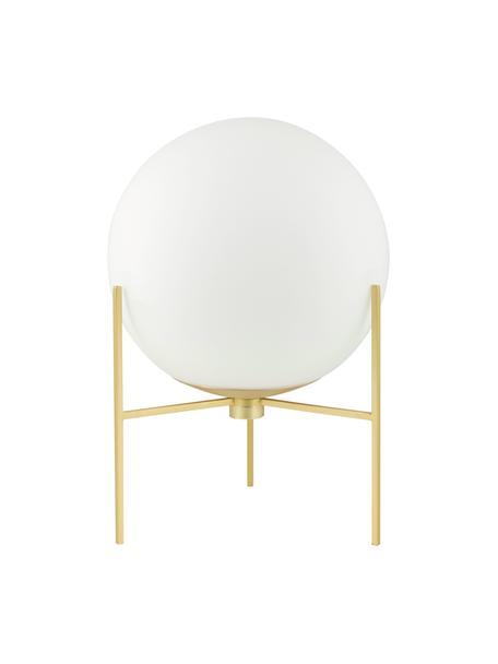 Mała lampa stołowa ze szkła opalowego Alton, Mosiądz, biały, Ø 20 x W 29 cm