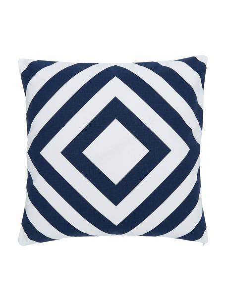 Poszewka na poduszkę Sera, 100% bawełna, Biały, ciemnyniebieski, S 45 x D 45 cm