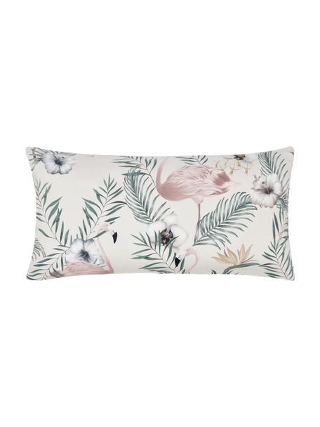 Baumwollsatin-Kissenbezüge Elliana mit Flamingo-Print, 2 Stück, Webart: Satin Fadendichte 200 TC,, Beige, Rosa, Grün, 40 x 80 cm
