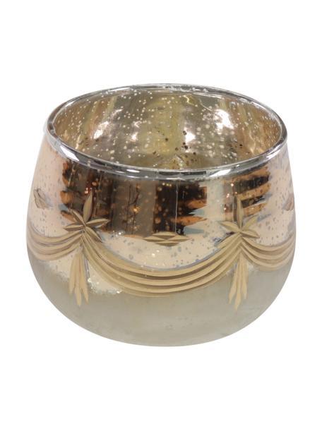 Teelichthalter Grava, Glas, Goldfarben, Beige, Ø 13 x H 10 cm