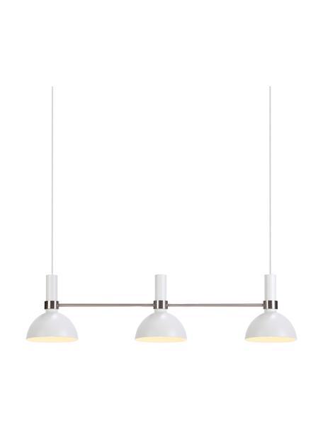 Grote hanglamp Larry, Baldakijn: gelakt metaal, Wit, chroomkleurig, 100 x 24 cm
