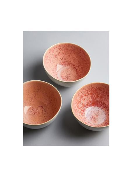 Cuencos artesanales Areia, 2uds., Gres, Tonos rojos, blanco crudo, beige claro, Ø 15 x Al 8 cm