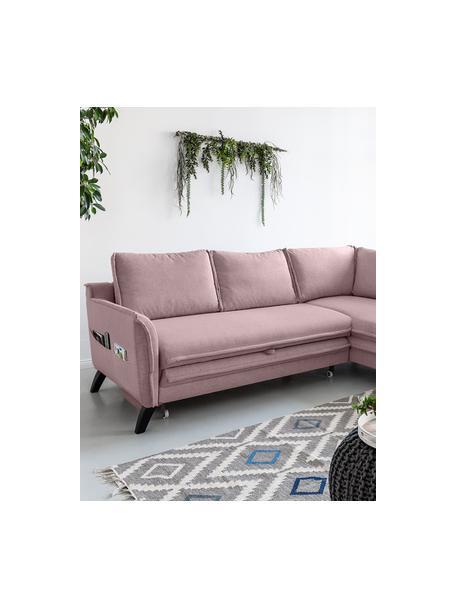 Divano letto angolare in tessuto rosa cipria Charming Charlie, Rivestimento: 100% poliestere con sensa, Struttura: legno, truciolato, Rosa cipria, Larg. 230 x Prof. 200 cm