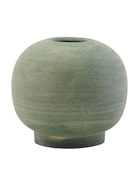 Mały ręcznie wykonany wazon z kamionki Bobbles, Kamionka, Zielony, Ø 7 x W 7 cm