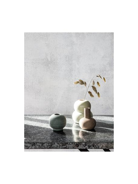 XS handgefertigte Vase Bobbles aus Steingut, Steingut, Grün, Ø 7 x H 7 cm