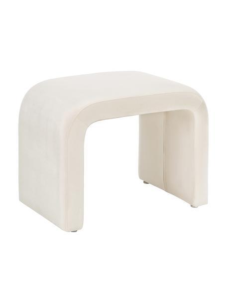 Taburete de terciopelo Penelope, Tapizado: terciopelo (poliéster) 25, Estructura: metal, aglomerado, Blanco crema, An 61 x Al 46 cm