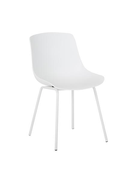Kunststoffen stoelen Dave met metalen poten in wit, 2 stuks, Zitvlak: kunststof, Poten: gepoedercoat metaal, Wit, B 46 x D 53 cm