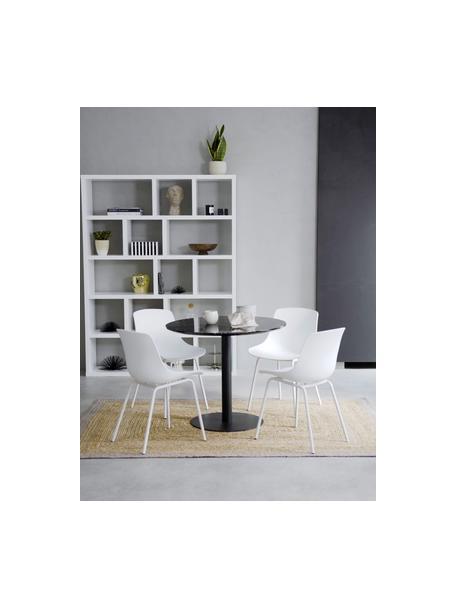 Kunststoffstühle Dave mit Metallbeinen in Weiß, 2 Stück, Sitzfläche: Kunststoff, Beine: Metall, pulverbeschichtet, Weiß, B 46 x T 53 cm