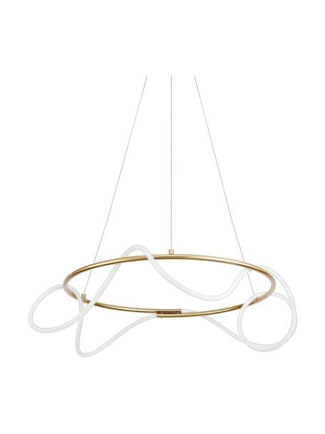 Grote LED hanglamp Tiriac, Lampenkap: acryl, Baldakijn: gecoat aluminium, Wit, goudkleurig, Ø 70 x H 120 cm