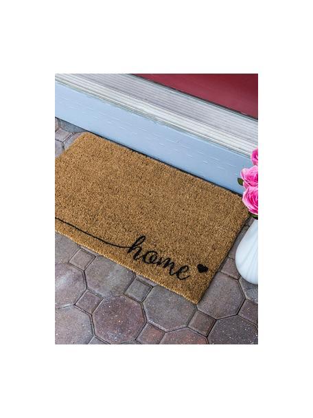 Deurmat Just For Your Home, Bovenzijde: kokosvezels, Onderzijde: kunststof (PVC), Bruin, zwart, 40 x 60 cm
