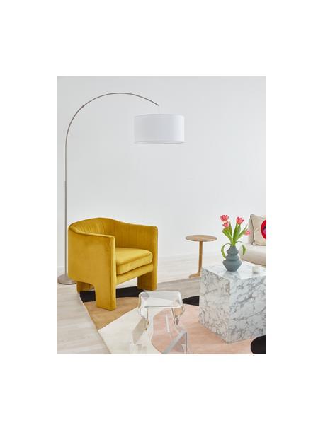 Lámpara arco grande Niels, Pantalla: mezcla de algodón, Cable: plástico, Blanco, cromo, An 157 x Al 218 cm