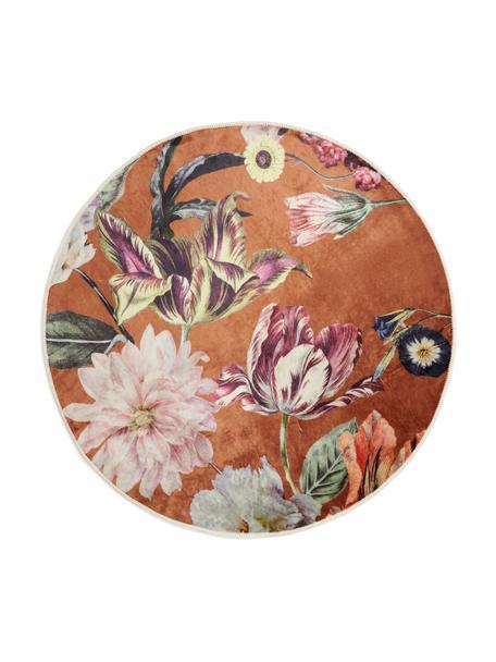 Runder Teppich Filou mit Blumenmuster, 60% Polyester, 30% thermoplastisches Polyurethan, 10% Baumwolle, Karamellbraun, Mehrfarbig, Ø 180 cm (Größe L)