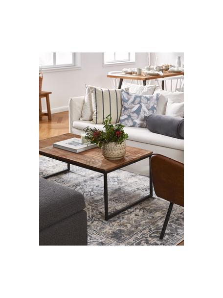 Massivholz-Couchtisch Randi im Industrial Design, Tischplatte: Mangoholz, massiv, Tischplatte: Mangoholz Füsse: Schwarz, 110 x 40 cm