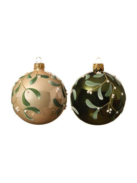 Weihnachtskugeln Fleo Ø 8 cm, 2 Stück, Grün, Beige, Goldfarben, Ø 8 cm