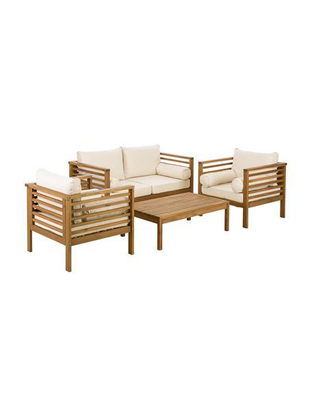 Garten-Lounge-Set Bo, 4-tlg., Gestell: Massives Akazienholz, geö, Bezüge: BeigeGestelle: Akazienholz, Set mit verschiedenen Grössen