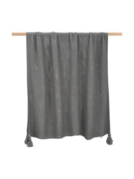 Plaid a maglia con frange Lisette, 100% poliacrilico, Grigio, Larg. 130 x Lung. 170 cm