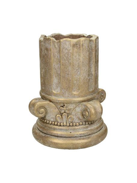 Kleine plantenpot Column van beton, Beton, Goudkleurig met antieke afwerking, Ø 15 cm