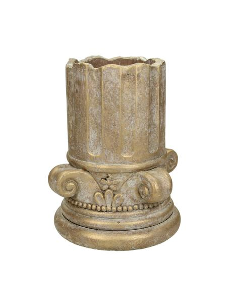 Mała osłonka na doniczkę z betonu Column, Beton, Odcienie złotego z antycznym wykończeniem, Ø 15 x W 17 cm
