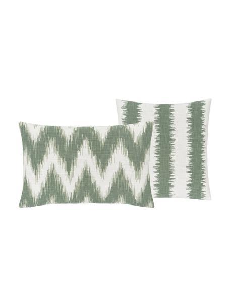 Set 2 federe arredo con motivo etnico color verde salvia/verde chiaro ikat Hasan, 100% cotone, Verde, Larg. 30 x Lung. 50 cm
