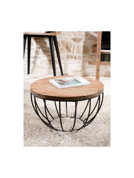 Mesa de centro redonda de teca Sixtine, Tablero: madera de teca reciclada, Estructura: metal pintado, Teca, negro, Ø 60 x Al 35 cm