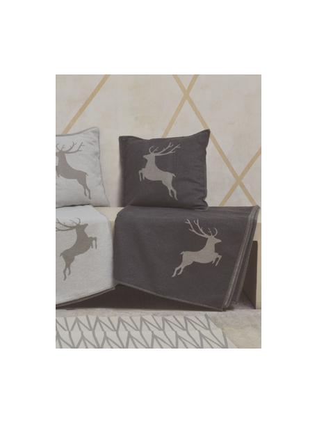Manta de tejido polar Sylt Hirsch, 85%algodón, 8%viscosa, 7%poliacrílico, Gris antracita, beige, An 140 x L 200 cm
