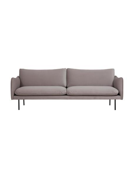 Sofa z aksamitu z metalowymi nogami Moby (3-osobowa), Tapicerka: aksamit (wysokiej jakości, Nogi: metal malowany proszkowo, Aksamitny taupe, S 220 x G 95 cm