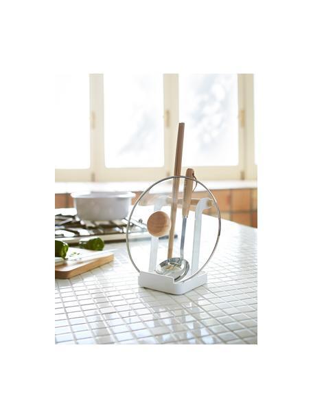 Porta utensilios de cocina Tosca, Estructura: acero recubierto, Blanco, madera, An 11 x Al 16 cm