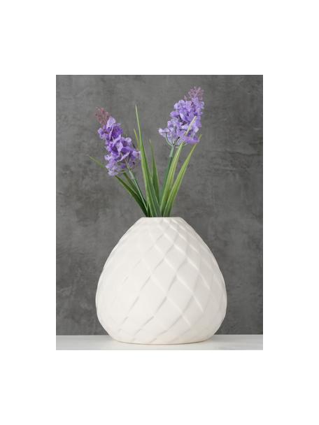 Kleine handgefertigte Vase Fabyo aus Steingut, Steingut, Weiß, Ø 12 x H 12 cm