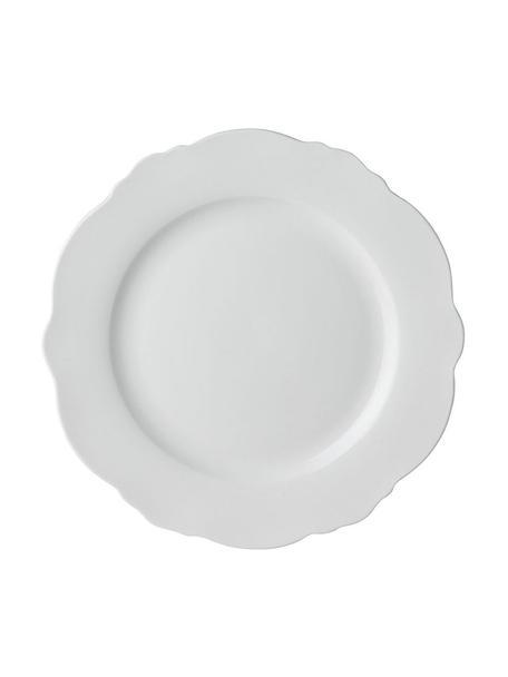 Set van 4 ontbijtborden Muschel Loft met gebogen rand, Porselein, Wit, Ø 21 x H 2 cm