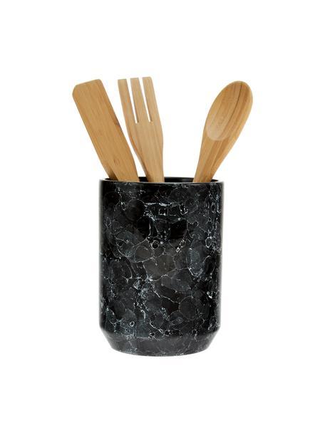 Set de utensilios de cocina en aspecto mármol Bubble, 4pzas., Negro, marrón, Ø 11 x Al 24cm